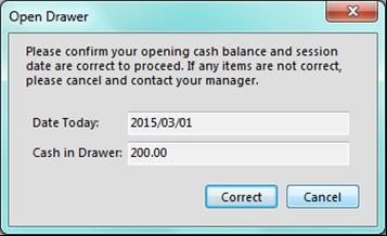 If the date or cash amounts are incorrect, the user should immediately cancel and contact their POS manager.