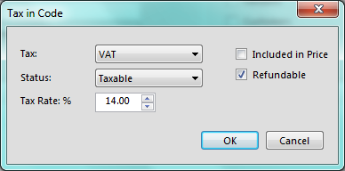 The tax drop down is populated with the definitions we created earlier. In this example it is VAT. The status drop down allows you to select if the authority is taxable, non-taxable, or exempt.