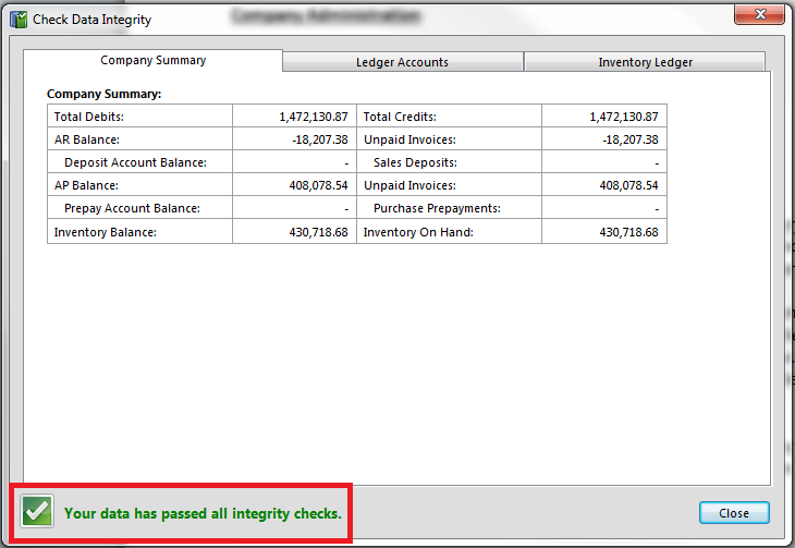 COMPANY ADMINISTRATION Check Data Integrity The check data integrity system allows you to verify that your Palladium company is not out of balance.