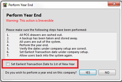 Furthermore, should you wish to perform a year end and would still like to process in the past financial year, please make sure that the set earliest transaction date to 1 st of new year option is