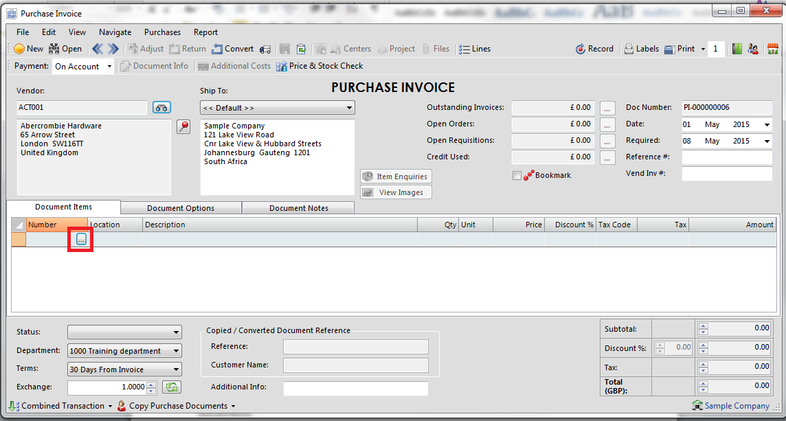 and if entering an invoice, enter the vendor invoice number in the space provided.