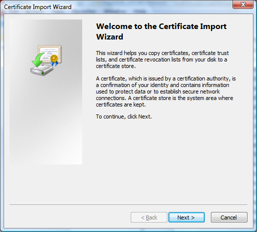 11. Right-click the Certificates folder, select All Tasks and then click Import 12.