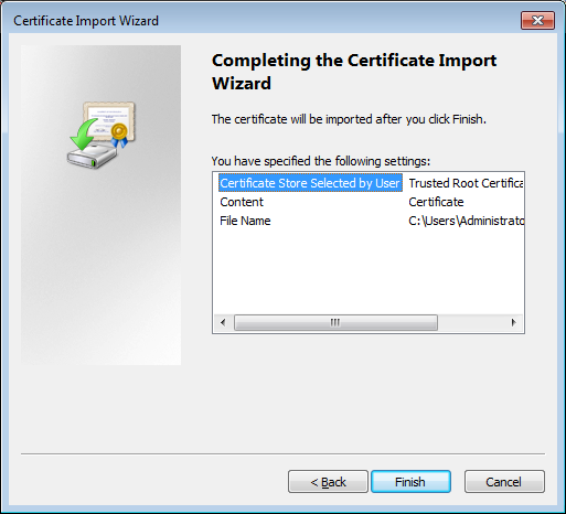 16. The Certificate Import Wizard dialog box appears.
