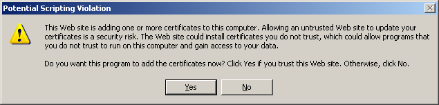 13. Select OK to confirm the setting. 14. Select Install this certificate.
