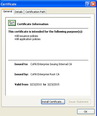 3. The below box will pop up, click on the + sign next to c:\documents and settings Then click on Certificates folder, on the
