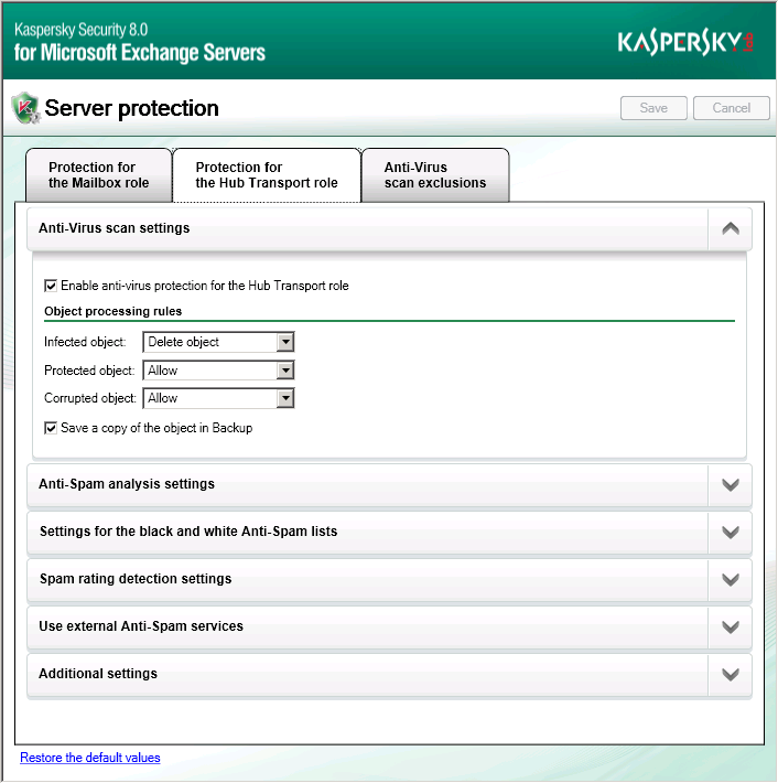 STARTING AND STOPPING THE APPLICATION Kaspersky Security is started automatically when Microsoft Exchange Servers loads, at Microsoft Windows startup, when a message passes the protected Microsoft