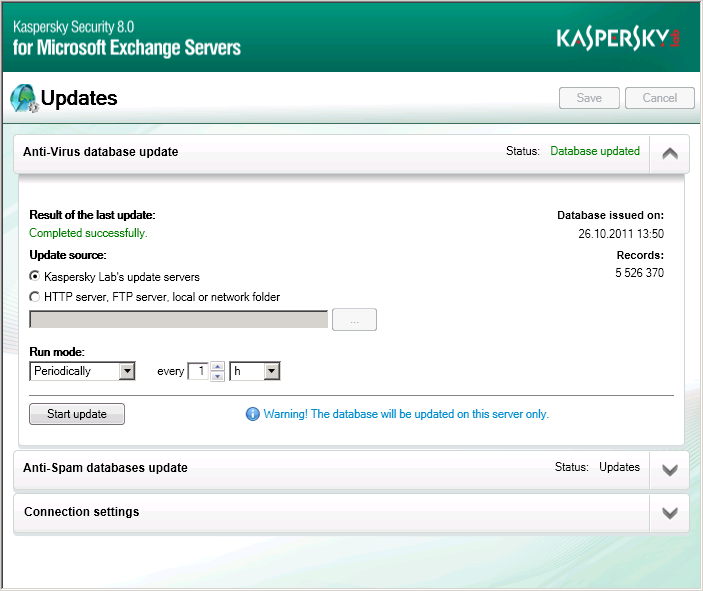 UPDATING THE ANTI-VIRUS AND ANTI- SPAM DATABASES Kaspersky Lab provides all its users with the opportunity to update the Kaspersky Security anti-virus databases, which are used to detect malicious