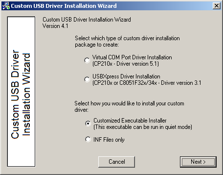 USB DRIVER CUSTOMIZATION Relevant Devices This application note applies to the following devices: CP2101/2/3, C8051F320/1/6/7, C8051F340/1/2/3/4/5/6/7 1.