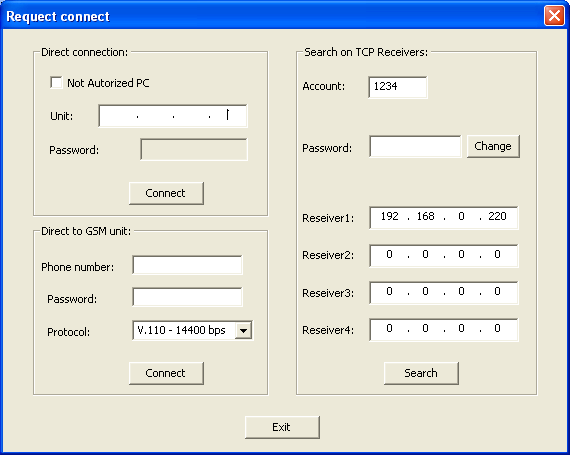 Upload/Download Program (Virtual Keypad) You are now connected to the Alarm System. 2. Using the Account Number and Receiver Server IP Address 2.
