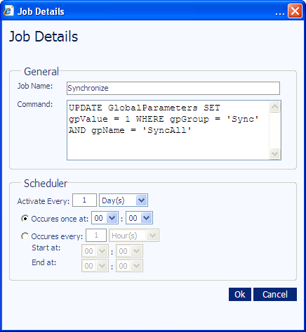 ADMINISTRATION SITE TASKS 35 4. Access the toolbar and click the Edit Job. The Job Details screen appears. Warning: We recommend that you do not edit the SQL command in the Command field.