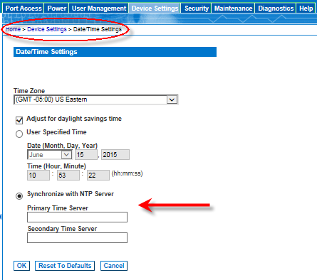 Manually set the date and time. Enter the IP address of the Primary Time server. Enter the IP address of the Secondary Time server.