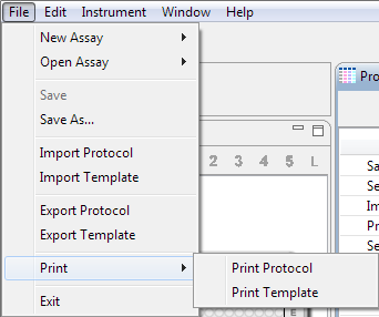 Importing and Exporting Protocols and Templates page 91 The assay template will print as an image, exactly as it is shown in the Template pane.