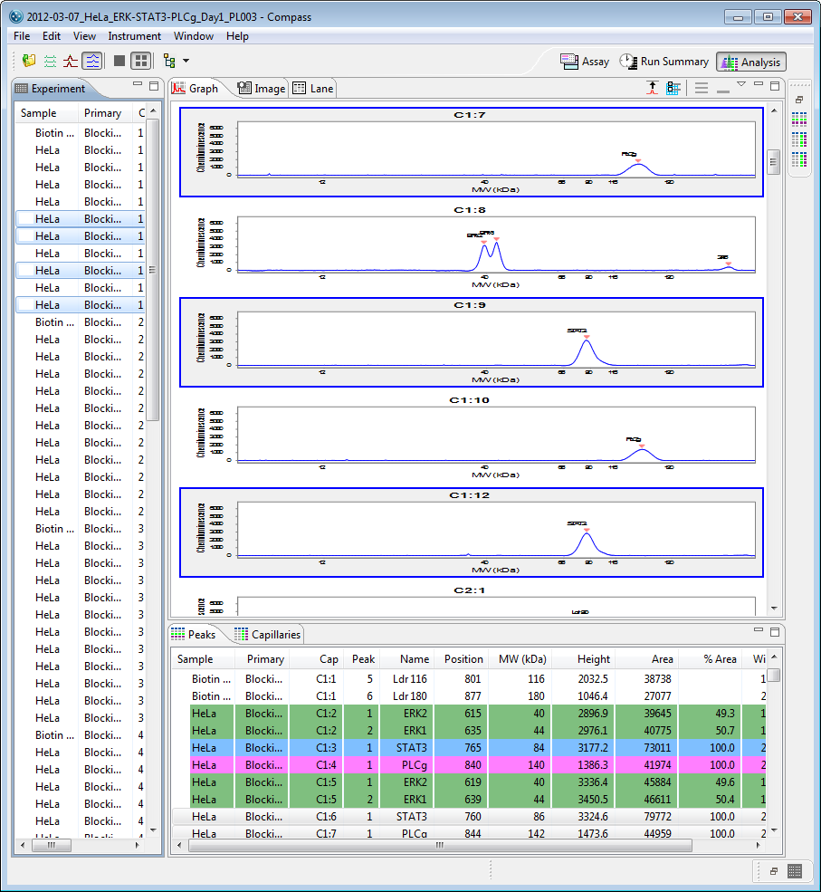 page 158 Chapter 8: Size Assay Data Analysis To view data up to 96 -capillary format - Click Multiple View in the View bar or select View in the main menu and click Multiple View: Data for the row(s)