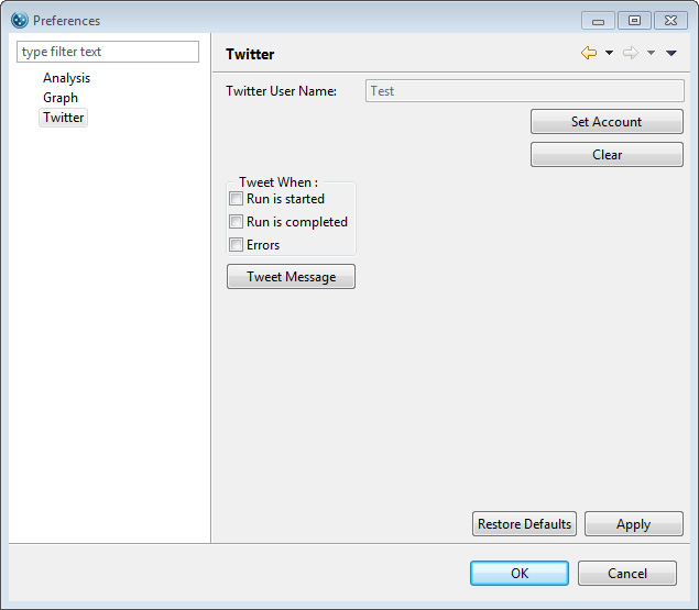 page 396 Chapter 10: Setting Custom User Preferences 4. The user name will now appear in the Twitter User Name box.