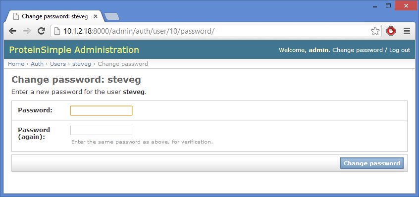 Authorization Server page 419 3. Enter the new password, then click Change password.