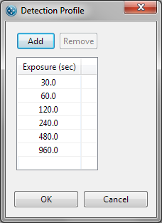 Viewing and Changing the Detection Exposures page 45 Viewing and Changing the Detection Exposures To view the current detection profile, roll the cursor over the exposures cell in Protocol pane: