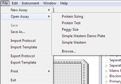 Starting a Run page 53 a.select File in the main menu and click Open Assay. b. A list of the last five assays opened will display.