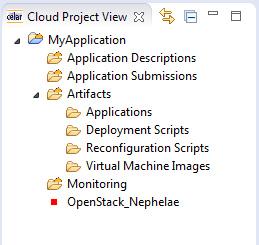 The new project is created and the project s folder structure is shown in the Cloud Project View (Figure 6).