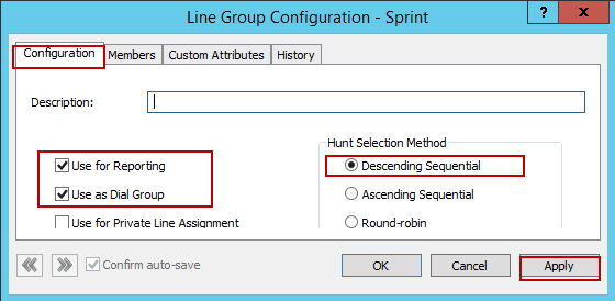4.1.3 Line Groups 1. Navigate to Line Groups 2. Right Click 3. Select New 4. Set Enter the Group Name: Sprint is given for this example 5. Click OK Figure 24: Line Groups 4.1.3.1 Configuration 1.