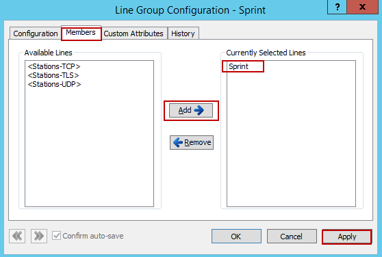 4.1.3.2 Members 1. Under Members Tab a. From Available Lines: Select Sprint and Click Add b.