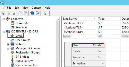 4.1.2 Line Configuration 1. In Interaction Administrator, navigate to CICSERVER1(Name of IC Server) 2015 R4 > Lines 2.