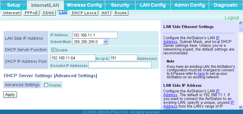Chapter 4 Configuration LAN Configure the LAN side port and DHCP server settings.