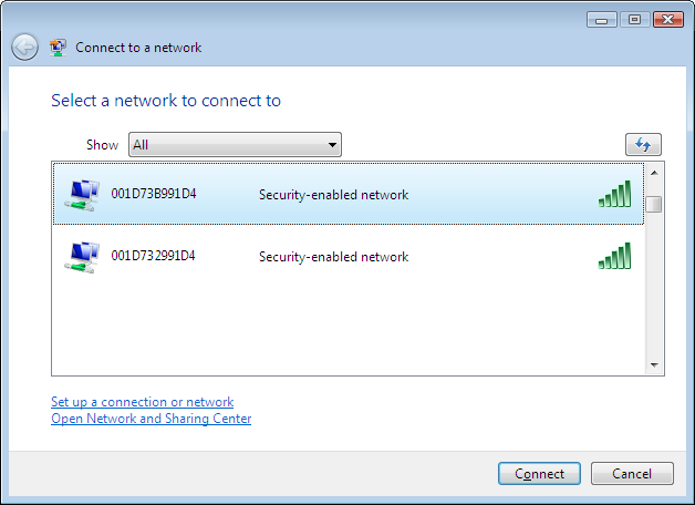 Chapter 5 Connect to a Wireless Network 3 Enter the encryption key and click [OK]. Windows Vista (WLAN AutoConfig) With Windows Vista, use WLAN AutoConfig to connect to the AirStation.