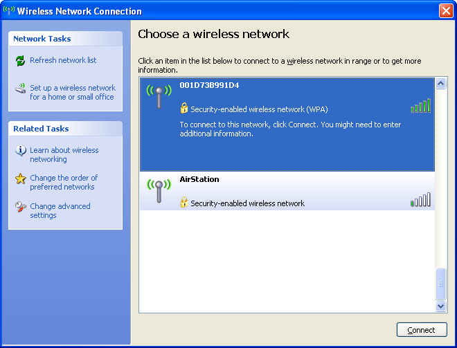 Chapter 5 Connect to a Wireless Network Windows XP (Wireless Zero Configuration) Windows XP includes a built-in utility to connect to your AirStation.