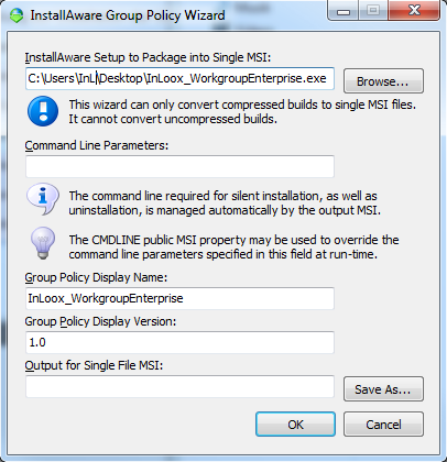Create a MSI Package for deployment. 1. Run the pglpwiz.exe application. (Download link: http://www.inloox.