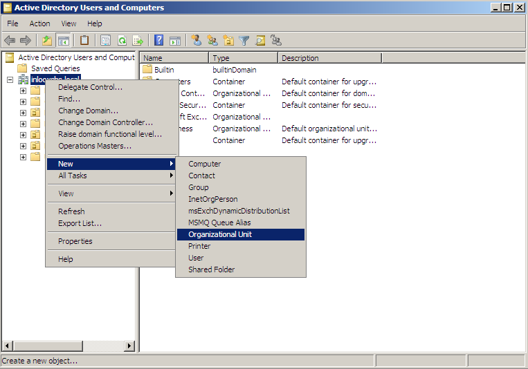 Creating an OU (Organizational Unit) and group in Active Directory Note: You can, of course, use your existing OUs and groups and proceed with the next