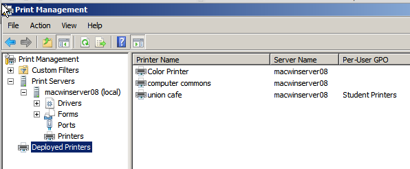 10. Click OK or Apply Scroll down Print Management to Deployed Printers to view the newly