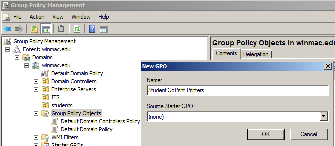 Mapping Print Shares for all users with Domain Group Policy Windows 2008 Domain Group Policy provides the ability to add GoPrint Shared print queues for all users (or computers) who log in to a