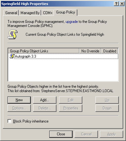 3. Select the Group Policy tab. Figure 1. Group Policy tab in the Organization Unit Properties dialog 4. Select a Group Policy Object Link and click Edit.
