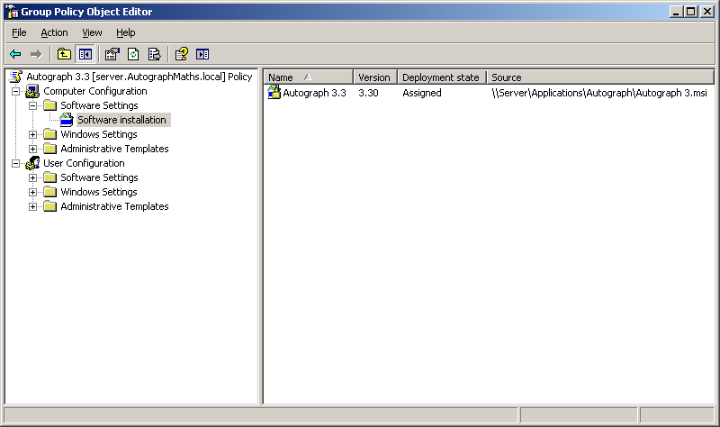 10. The application to be installed appears as shown in Figure 7 in the Group Policy Object Editor. Figure 7. Congratulations!