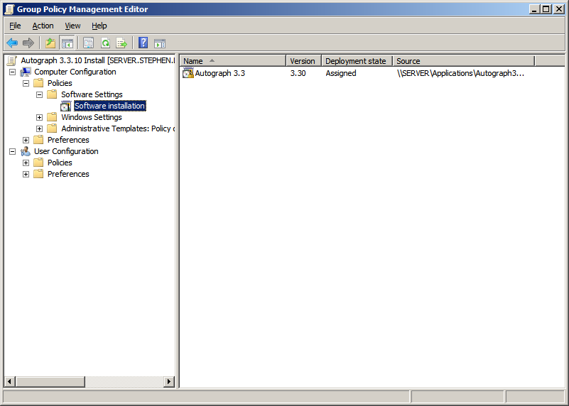 10. The application to be installed appears as shown in Figure 9 in the Group Policy Management Editor. Figure 9. Congratulations!