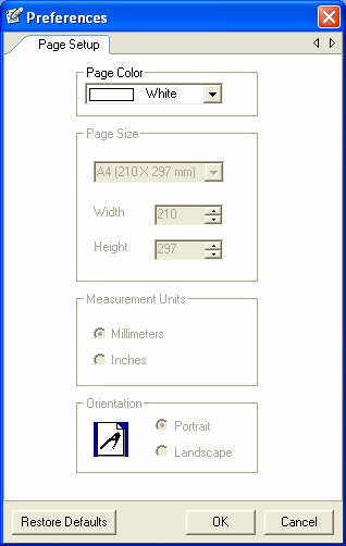 To set up the page: 1. From the main menu select Page > Page Setup or Tools > Preferences. The Preferences dialog box opens with the Page Setup tab on top. 2.