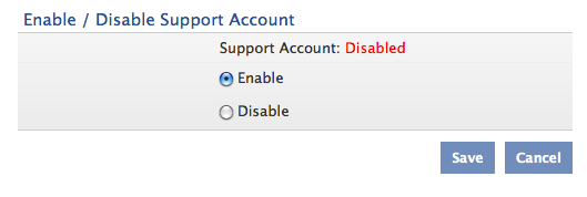 9. Go back to the Admin page, and under Access Settings, click Support Account. 10. Select Enable and click Save. 11.
