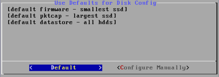 3. If the Problems found in Disk Config screen appears, complete the following steps. These steps show default selections. For additional help, contact ExtraHop Support. a. On the Problems found in Disk Config screen, select Rebuild config by using the arrow keys, and then press Enter.