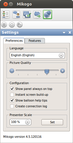 Settings During a session you can set the following Settings, such as: Language, Picture Quality and Presenter Scale.