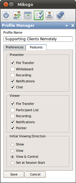 On the Feature tab you can set which features the Presenter and the Viewer are able to use during a session. Furthermore you can either enable or disable the Participant List.