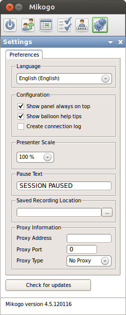 Settings Mikogo offers a variety of additional settings which you can easily enable or disable.