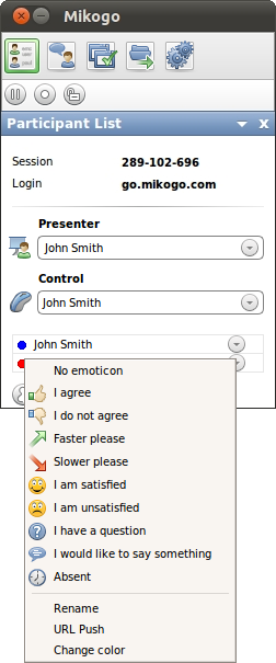 In the Participant List, the presenter has a drop-down list associated with their name.