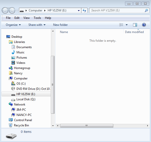 3. Find the Documents folder and the flash drive in the left pane.