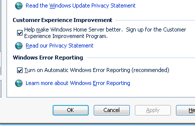 checking the options for Customer Experience Improvement Program and Windows Error Reporting (Fig. 33) in Settings>General. Fig.