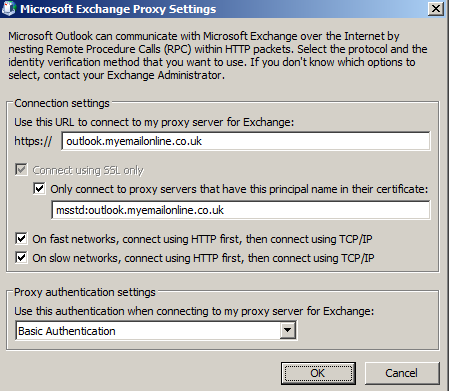 After this, click on the More Settings box. Go to the Connection tab, and tick the Connect to Microsoft Exchange using HTTP box, and then click the button for Exchange Proxy Settings.