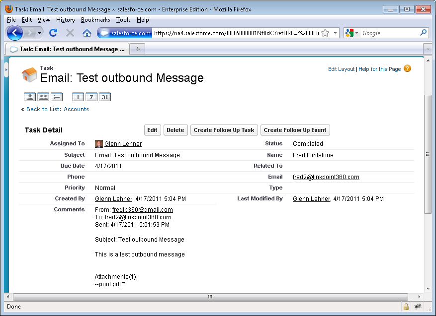 By clicking the email, Salesforce will display the details of the
