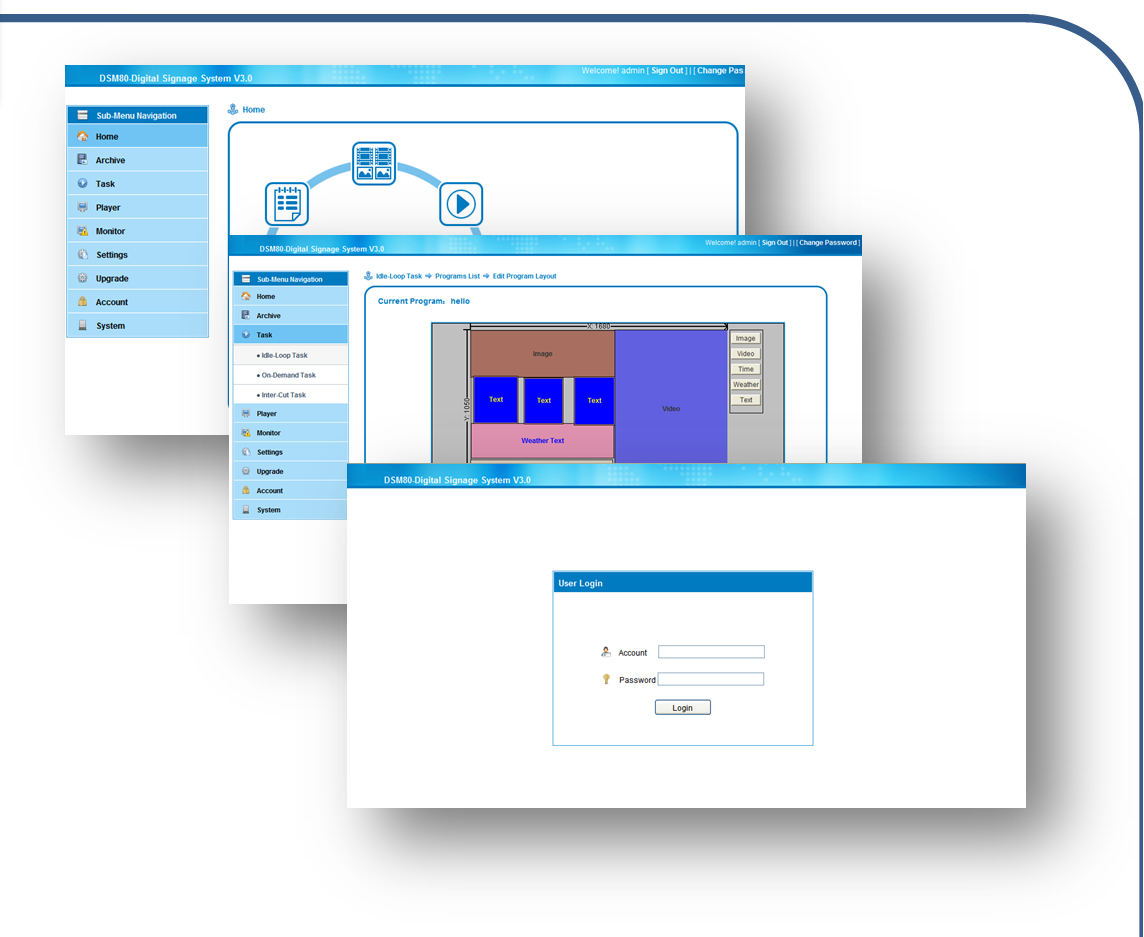 DSM80 Control Software Layout Tool & Playlist Editing Layout Design tool: create new zones with quick click and drag to desired size and location.