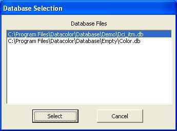 You must select the database to be upgraded: Textile Applications C:\Program Files\Datacolor\dci_itm.db Paint/Plastic/Ink Applications C:\Program Files\Datacolor\Database\Empty\Color.db 3.
