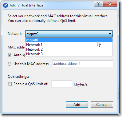 j. Click Next. The New VM Networking page appears. It is blank. Now you must add the virtual network interface. k. With that in mind, click Add.