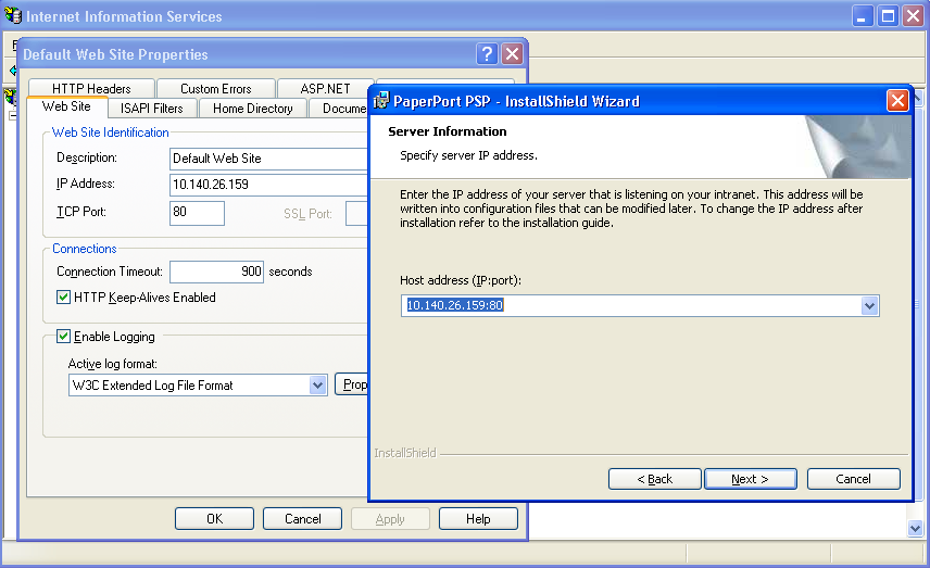 PaperPort PSP Server During the installation make sure that the Host address is the same as the IP Address on the Web Site tab in the IIS Management Console.